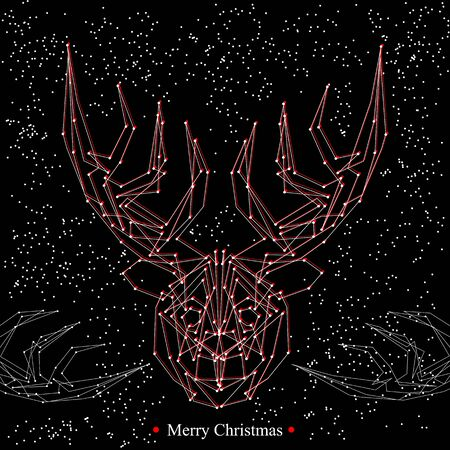 red deer: Art creative new year winter holiday wallpaper vector illustration greeting card of one red deer with antlers in white snowdlakes and merry christmas text on black background