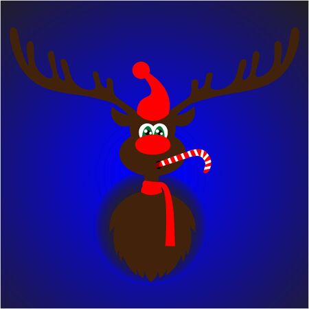 red nose: Art creative colorful new year winter holiday wallpaper vector illustration greeting card of one deer with antlers red nose hat on blue background