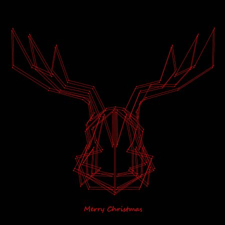 Art creative new year winter holiday wallpaper vector illustration greeting card of one red deer with antlers and merry christmas text on black background