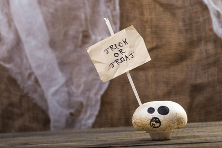 one sheet: Photo closeup still life one white champignon ghost face with happy Halloween lettering trick or treat on white paper sheet on stick on wooden table on blurred rustic background, horizontal picture