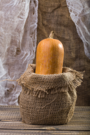 bagging: Photo closeup autumn still life one big whole fresh orange pumpkin gourd in sackcloth bagging standing on wooden table over rustic background, vertical picture