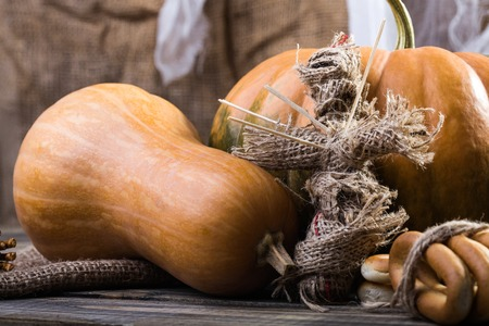 cross linked: Photo still life bunches of hard oval cracknels bind with string orange gourd pumpkin and voodoo doll with sticks on chest on wooden table on blurred rustic background, horizontal picture
