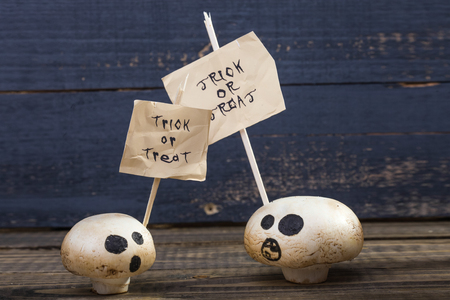 Still: Photo closeup still life two white champignons ghost faces with Halloween lettering trick or treat on white paper sheets on sticks on wooden table on blue timber background, horizontal picture