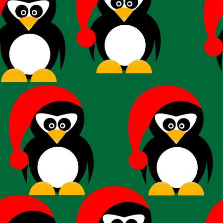 pinguin: Art creative colorful new year winter holiday wallpaper vector illustration of many small pinguins in christmas red hat on green seamless background