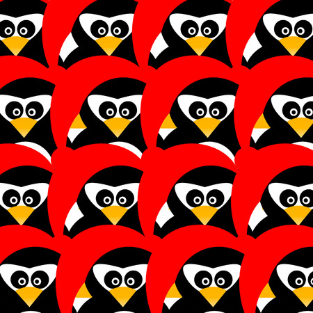 pinguin: Art creative colorful new year winter holiday wallpaper vector illustration of many small pinguins in christmas red hat on seamless background Illustration