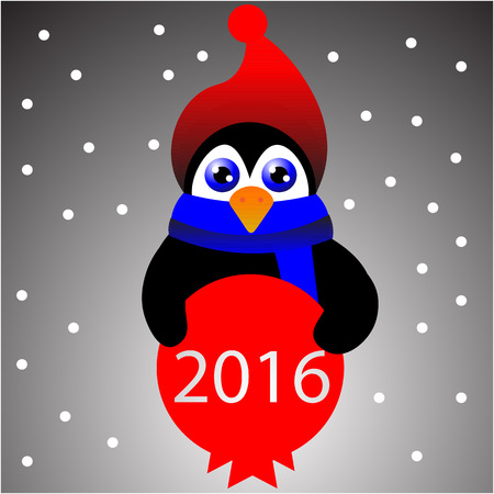 pinguin: Art creative colorful new year winter holiday wallpaper vector illustration greeting card of one small pinguin in red santa christmas hat with decorative ball on grey background Illustration