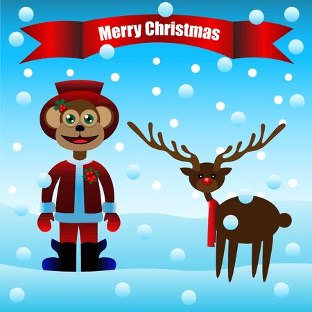 Art creative colorful new year winter holiday wallpaper vector illustration greeting card of monkey in santa christmas hat and deer on winter background Stock Illustratie
