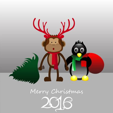 pinguin: Art creative colorful new year winter holiday wallpaper vector illustration greeting card of pinguin and monkey in christmas deer antlers with green fir tree on grey background