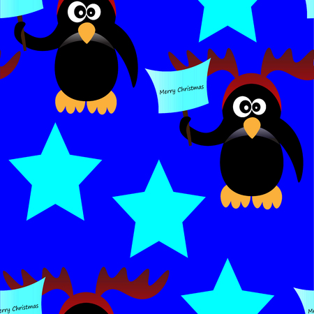 pinguin: Art creative colorful new year winter holiday wallpaper vector illustration of pinguin in christmas deer antlers with paper sheet and stars on blue seamless background Illustration