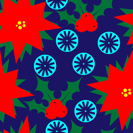 new plant: Art creative colorful new year winter holiday wallpaper vector illustration of christmas red plant and snowflakes on blue background