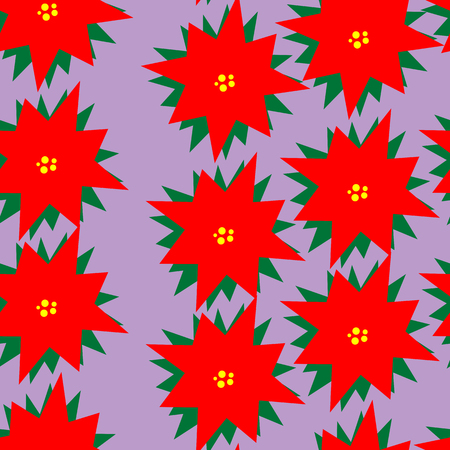 new plant: Art creative colorful new year winter holiday wallpaper vector illustration of christmas red plant on violet background