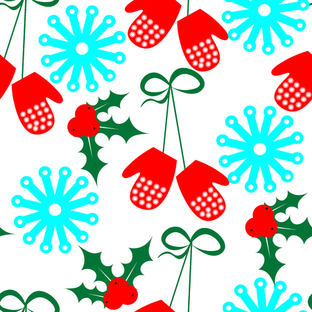 christmas plant: Art creative colorful new year winter holiday wallpaper vector illustration of christmas plant snowflakes and gloves on white seamless background Illustration