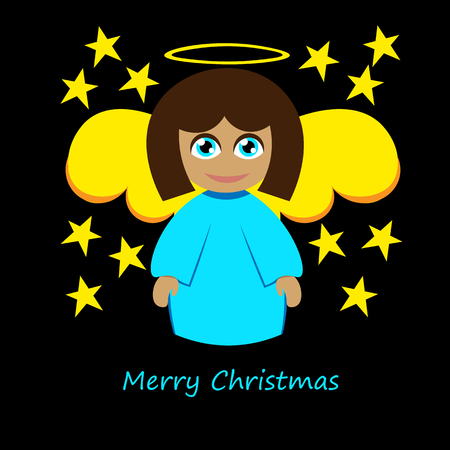 Art creative colorful new year winter holiday wallpaper vector illustration of christmas holy angel with halo and stars on black background