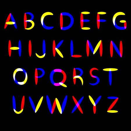 Beautiful colorful abstract vector english alphabet illustration of bright rainbow letters blue yellow and red color on black backdrop