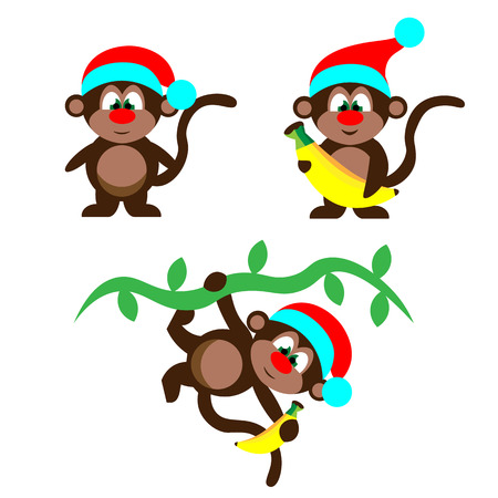 new plant: Beautiful colorful christmas vector illustration of three new year monkey animal in hat on plant with banana on white backdrop Illustration