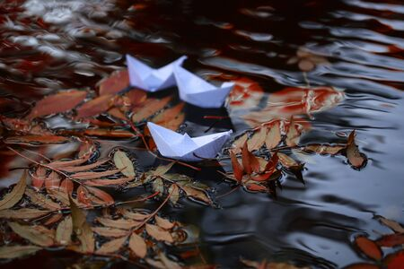 colorful water surface: Closeup view of many beautiful colorful autumn tree leaves red yellow orange green colors floating on wavy water with reflection of nature with white paper ship on outdoor background, horizontal picture