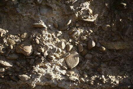 Foto Closeup Im Freien Von Sandigen Alten Kieselstein Wand Fassade Außen  Von Felsen In Verschiedenen Größen
