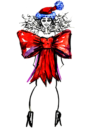 hair bow: Closeup modern watercolor aquarelle painting hand drawn silhouette of posing party girl wearing Christmas red bow costume Santa Claus hat and curly hair on white background, vertical picture