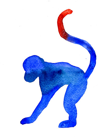 on all fours: Closeup funny watercolor aquarelle painting hand drawn silhouette of one blue monkey with long tail posing on all fours animal zodiac sign for New Year on white background, vertical picture