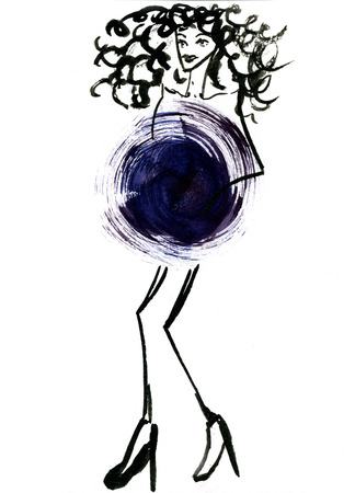 costume ball: Closeup modern watercolor aquarelle painting hand drawn silhouette of dancing party girl wearing dark blue Christmas ball costume and curly hair on white background, vertical picture