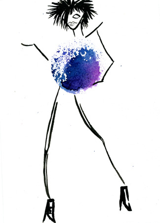 costume ball: Closeup modern stylish watercolor aquarelle painting hand drawn silhouette of dancing party fashion girl wearing blue Christmas ball costume on white background, vertical picture
