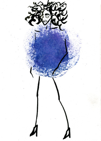 costume ball: Closeup modern watercolor aquarelle painting hand drawn silhouette of stylish dancing party girl wearing blue Christmas ball costume and curly hair on white background, vertical picture Stock Photo