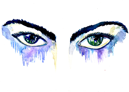 gaze: Closeup beautiful artistic watercolor aquarelle painting rough draft and hand drawn pair of female blue green eyes and eyebrows gaze glare with splatters on white background, horizontal picture