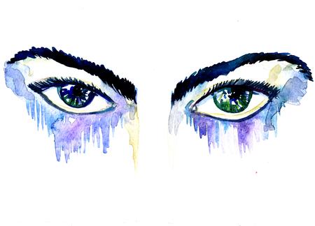 ojos verdes: Primer hermosa pintura acuarela acuarela art�stica borrador y mano dibujado par de ojos verdes azules femeninos y las cejas mirada mirada con salpicaduras en el fondo blanco, cuadro horizontal