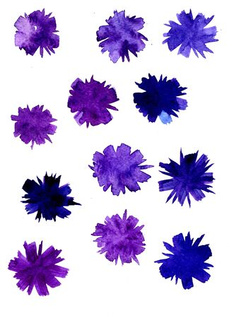 blooms: Closeup abstract watercolor aquarelle hand drawn wash drawing arty grunge creative set of multicolored blue violet flower blossoms blooms brush strokes on white background, vertical picture