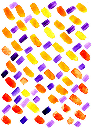 brushwork: Closeup abstract watercolor aquarelle hand drawn wash drawing arty grunge creative set of multicolored blue violet orange yellow brush strokes brushwork on white background, vertical picture