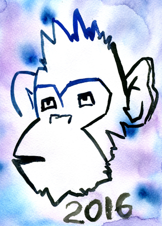 Closeup beautiful watercolor aquarelle painting hand drawn sketch of one monkey face hairy head animal zodiac sign 2016 year lettering New Year on blue spotty background, vertical picture Banque d'images