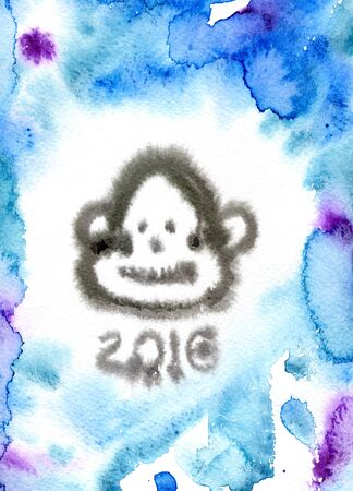 spotty: Closeup abstract watercolor aquarelle painting hand drawn sketch of one monkey face hairy head animal zodiac sign 2016 year lettering New Year on blue spotty background, vertical picture