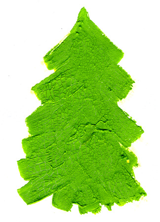 shelling: Closeup abstract decorative one bright green shelling oil paint crackled aged fir-tree spruce on white background, vertical picture