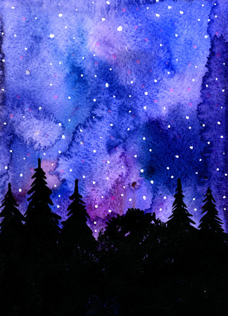 winter night: Closeup watercolor aquarelle painting hand drawn dark outlines of wonderful winter night wood fir-trees spruces woodland landscape on blue spotty background, vertical picture Stock Photo