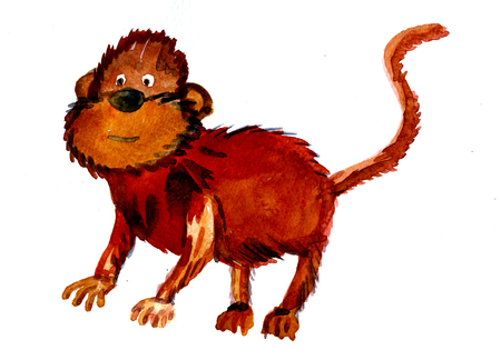 on all fours: Closeup funny watercolor aquarelle painting hand drawn silhouette of one brown monkey with long tail orange face posing on all fours animal sign for New Year on white background, horizontal picture