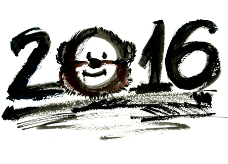 arty: Abstract closeup hand-written 2016 year lettering watercolor aquarelle hand drawn wash drawing arty monkey animal zodiac sign New Year black colors on white background, horizontal picture