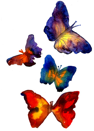 Set of beautiful bright artistic watercolor aquarelle painting rough draft and hand drawn colorful butterflies over white background, vertical picture