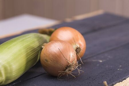 bulb and stem vegetables: Set of organic natural raw domestic vegetables sweet corn cob and ripe golden onion laying on black wooden table on blur background closeup, horizontal picture