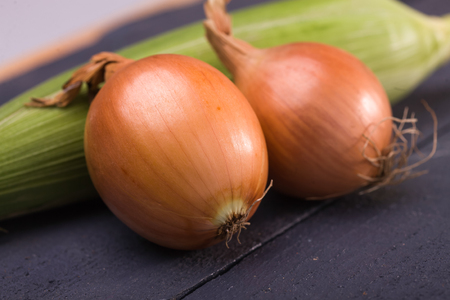 bulb and stem vegetables: Two ripe appetizing domestic fresh golden onions vegetables with shining peel laying near green sweet corn cob eco products on black wooden background closeup horizontal picture