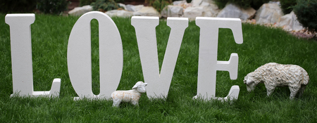 surroundings: Photo closeup of word love written in white separate letter figures font sheep and lamb figurines standing on green grass outdoor on natural surroundings background, horizontal picture Stock Photo