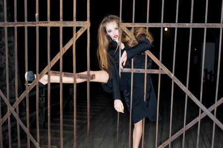 iron fence: One beautiful strange young fashionable elegant sensual woman with red lips and long lush hair in black clothes standing outdoor near old dirty iron fence gate on dark background, horizontal picture