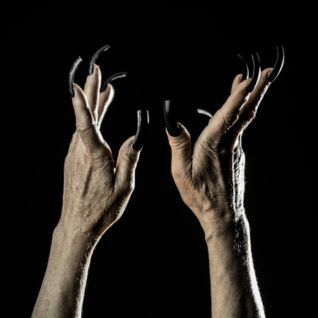 Closeup view of two female old scary mystic hands with long black nails on fingers of witch zomby demon or devil on halloween holiday character in studio indoor on dark background, square picture Banco de Imagens