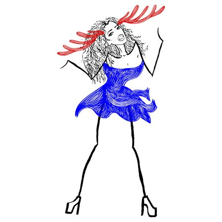 snow queen: Beautiful colorful christmas vector illustration of one woman in new year blue snow queen or maiden dress with big deer antlers hat on head on white backdrop Illustration