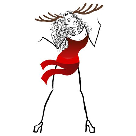 snow maiden: Beautiful colorful christmas vector illustration of one woman in new year red snow queen or maiden dress with big deer antlers hat on head on white backdrop Illustration