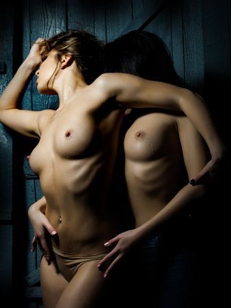 lesbian erotic: Closeup of young sexy female naked couple of two lesbian touching and embracing each other having sex with straight beautiful wet body undressed breast and nipples standing close indoor, vertical Stock Photo