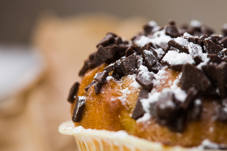 Appetizing sweet fragrant tasty top of cupcake with chocolate chip and white sugar powder carbohydrates ingredient calories baked food closeup studio on blur background, horizontal picture