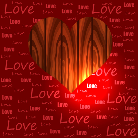 Bright color vector graphic illustration of Valentine day love holiday with symbol of red beautiful heart shape objects on wooden background