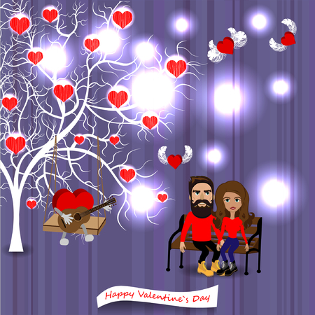 Bright color vector graphic illustration of Valentine day love holiday with symbol of beautiful heart shape and lovely couple on colorful background 向量圖像