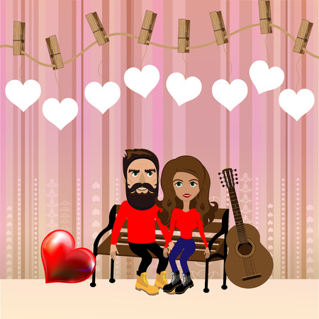 lovely couple: Bright color vector graphic illustration of Valentine day love holiday with symbol of beautiful heart shape and lovely couple on colorful background Illustration