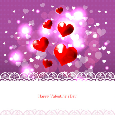 Bright color vector graphic illustration of Valentine day love holiday with symbol of beautiful heart shape and lights on colorful background